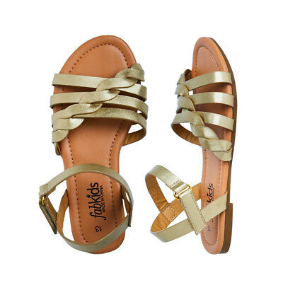 980c7f4e676d NEW FABKIDS GIRLS Gold Braided Sandals Shoes 2 3 4 5 -  6.59