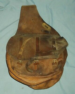 Vintage Leather Military Cavalry Style Saddle Bags Brass Plates Horse Tack