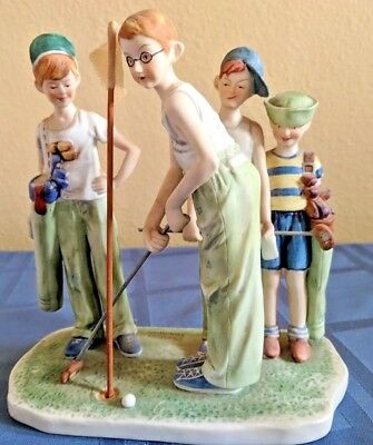 "Norman Rockwell Golf ""MISSED"" Four Boys Golfing Dave Grossman Gorham Figurine"