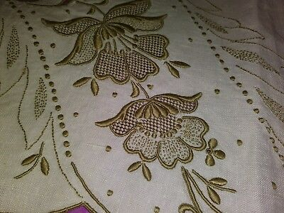 "Exceptional Madeira Embroidered and Cutwork 42"" by 16"" Linen Table Runner"