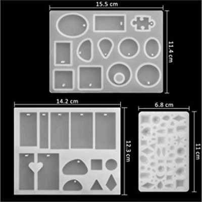 3PCS Silicone Mould Pendant Jewelry Making Necklace Mold Craft DIY Resin Round