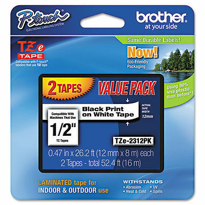 "12 GENUINE BROTHER P-TOUCH TZe-2312PK 1/2"" BLACK PRINT ON WHITE TAPE 2 PACK TZe2"