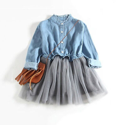 Pretty Kid Baby Girl Casual Long Sleeve Denim Tutu Tulle Party Pageant Dress Ash