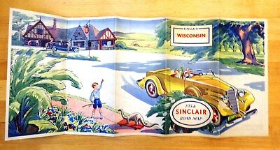 Vintage 1934 Sinclair Road Map for WISCONSIN