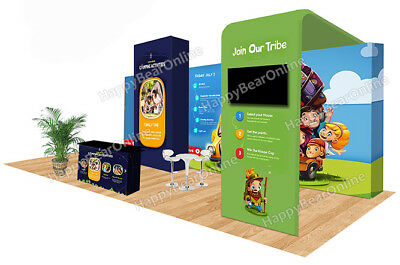 Trade show waveline pop-up 20ft x 10ft fabric exhibition booth XY-03