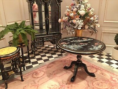 Dollhouse Miniature Hand Painted Chinoiserie Bespaq Tea Table Forever Retired