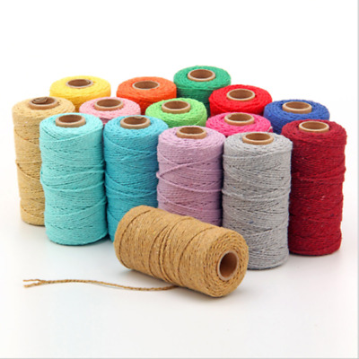 100m 100% Natural Cotton String Twisted Cord Beige Craft Macrame Artisan 2mm HOT
