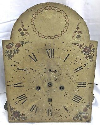 """Lovely Antique Long Case Grandfather Clock Dial And Movement 12"""" Wide 16"""" Tall"""