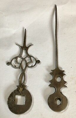 Pair Early 17/18th Century Steal Lantern Longcase Grandfather Clock Finger  hand