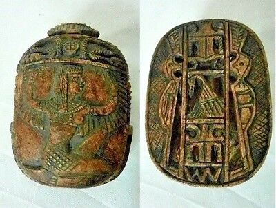 RARE ANCIENT EGYPTIAN ANTIQUE SCARAB With Lost Queen Stone 1335-1150 BCE
