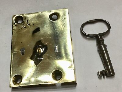 Antique Brass Longcase Grandfather Clock Lock And Key