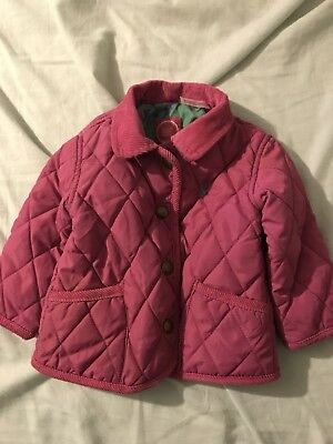 baby girls joules quilted coat in pink size 3-6 months