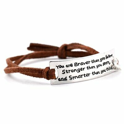 Fashion Inspirational Motivational Lettering Leather Bracelet Bangle Jewellery