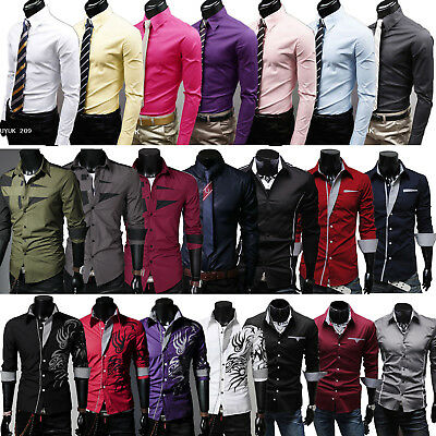 Mens Long Sleeve Formal Dress Shirt Business Work Button-front Casual Shirts Top