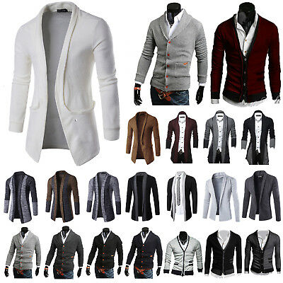 Mens Casual Open Cardigan Knitted Jumper Sweater Jacket Knitwear Outfits Fashion