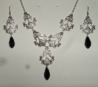 Filigree Victorian Style Black Silver Plate Briolette Drop Necklace Earring Set