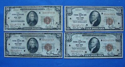 *lot Of (4) 1929 Series $20.00 & $10.00 Federal Reserve Bank Of New York Notes*