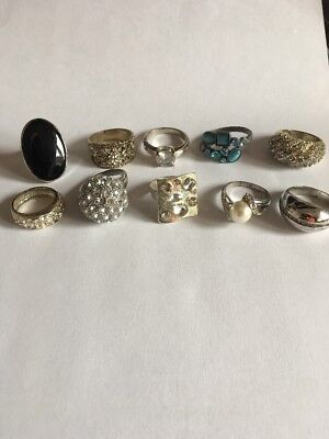 Job lot of 10 costume jewellery rings, various styles & sizes,