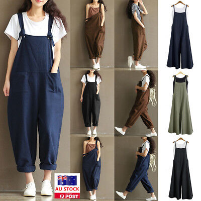 Plus Size Women Dungarees Overalls Bib Long Pants Rompers Casual Loose Jumpsuits