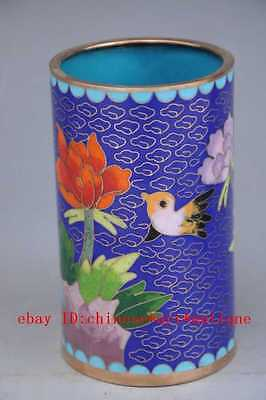 China antique Handmade Cloisonne Copper Pen Container d01