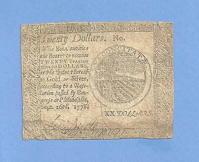 1778 $ 20 September Continental Currency Affordable Colonial History
