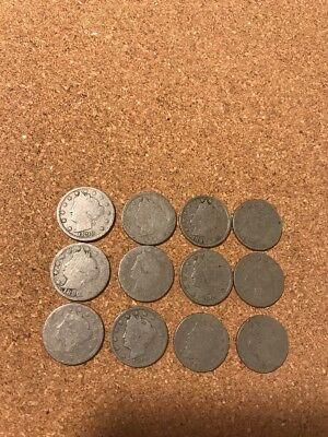 Lot of (12) Liberty Head V Nickels from assorted years Lot 8 Pre 1900