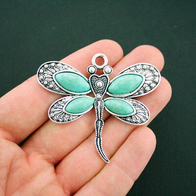 Dragonfly Pendant Charm Antique Silver Tone with Faux Turquoise Stones - SC6025