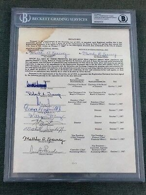 DONALD TRUMP Signed Historical Contract/ Document BECKETT BAS AUTHENTICATED