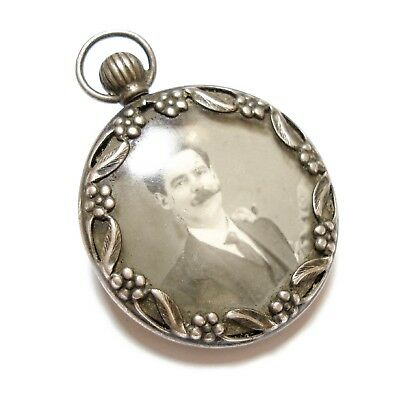 Beautiful Old Antique Edwardian Double Sided Silver Locket For A Necklace (C9)