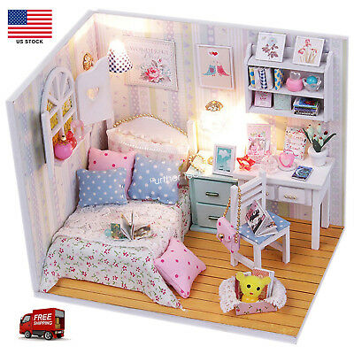 US Dollhouse Miniature DIY House Kit Cute Room With Furnitiure and Cover Artwork