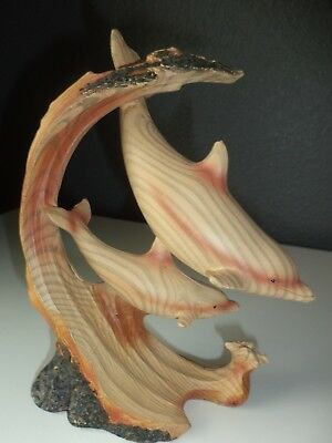 Dolphins Pair Figurine / Statue Faux Carved Wood Wildlife Ocean Sealife 7.5""