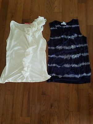 women's lot tank tops size large ivory and navy blue