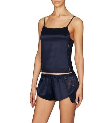 Pleasure State JEMIMA WOOLF Satin Camisole Top + Short LARGE Peacoat Blue Rp$170