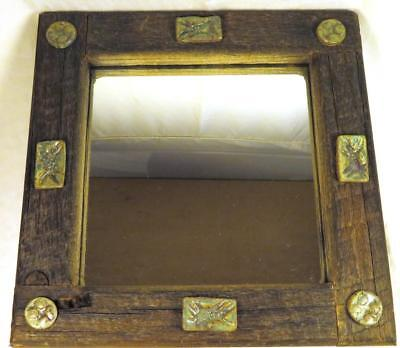 """Sm Rustic Wood Frame Mirror Pottery Accents 7 3/4"""" x 7 3/"""" Weathered Barn Style"""