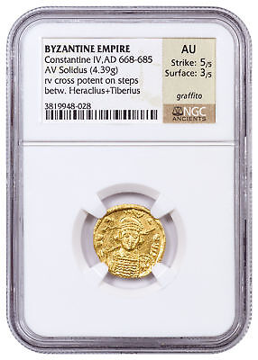 AD 610-641 Byzantine Empire, Gold Solidus of Heraclius NGC AU 5/5, 3/5 SKU54461