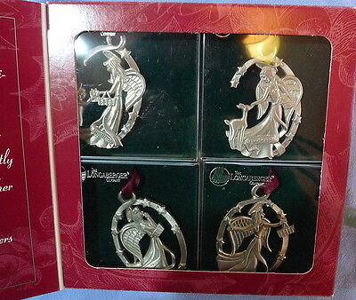 Longaberger Pewter Christmas Angel Ornaments Set Of 4 New In Box