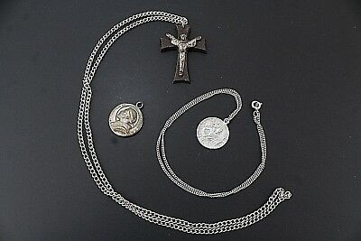 VINTAGE Lot of Three ST. ANTHONY CHRIS Sterling Silver 925 x1 Necklace + Pendant