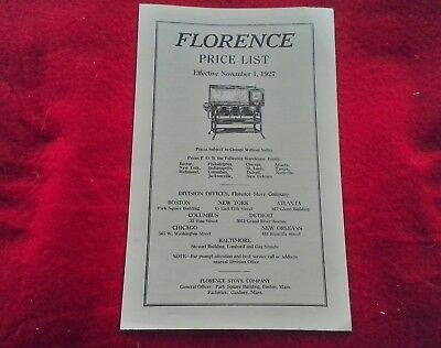 1927 Florence Stove Co Price List & CATALOG Advertising