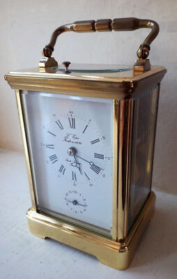 Beautiful Polished L'epee Striking Repeating Alarm Carriage Clock with Key 1981