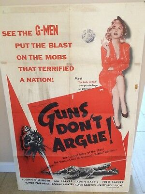 """guns Don't Argue"" Rare Original 1957 Canadian Full 1-Sheet Movie Theater Poster"