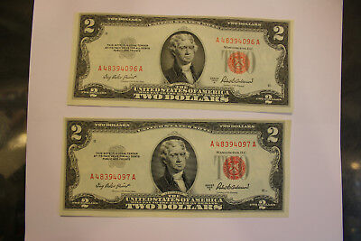 (2) 1953-A $2 United States Notes Consecutive Red Seal Unc A48394096A, 97A JSH