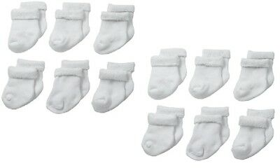 Gerber 6-Pack Baby Unisex White Socks Size 6-12M LOT OF TWO (2)!