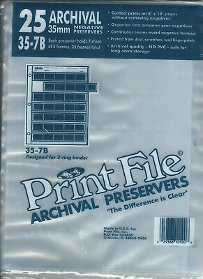 New Print File 35-7B 25 Sheets For 35 Mm Negatives, Preserver Archival Sleeves