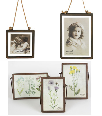 Industrial Vintage Finish Photo Picture Frame Glass and Metal Stand or Hang