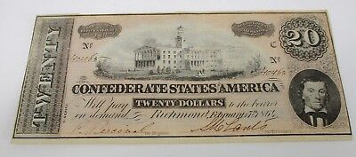 Hand Ink Signed Rare 1864 Civil War Era $20 Confederate States Of America Twenty