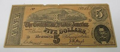 1864 Civil War Era $5 Confederate States Of America Five Dollar Bill