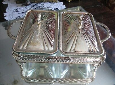 Superb Antique/vintage England Silver Plate Double Service Dish Set