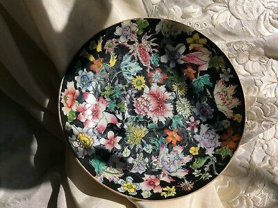 Chinese Antique 19th C Porcelain Saucer Famille Noir Flower Guangxu Mark  Period