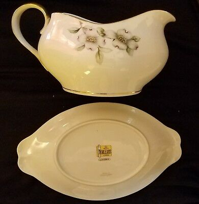 Livonia China Gravy Bowl and Platter by Mieto-Norleans, Made in Occupied Japan