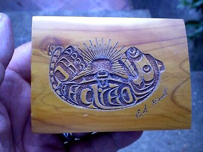 1980s Carved Canadian First Nation Small Trinket Box - Eugene Hunt